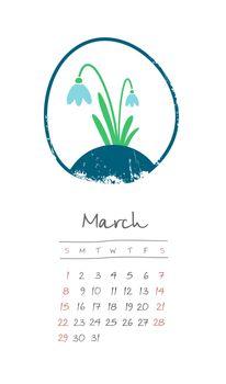 Calendar 2020 months March. Week starts Sunday