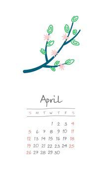 Calendar 2020 months April. Week starts Sunday
