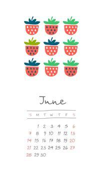 Calendar 2020 months June. Week starts Sunday