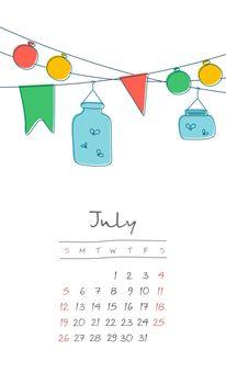 Calendar 2020 months July. Week starts Sunday