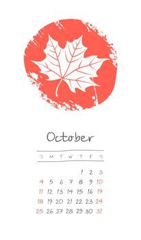 Calendar 2020 months October. Week starts Sunday