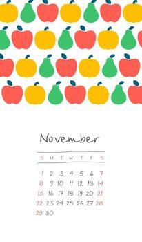 Calendar 2020 months November. Week starts Sunday