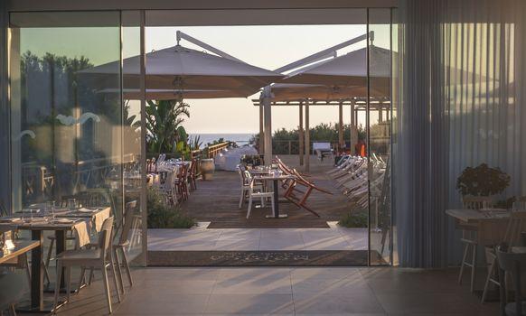 Interior of a Mediterranean restaurant inside a resort
