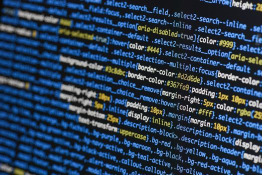 Real css code developing screen. Programing workflow abstract al