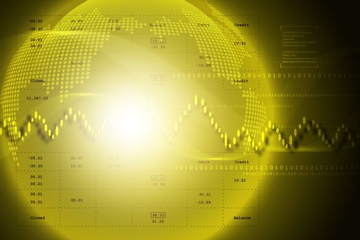 stock market graph with globe