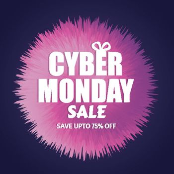 Save up to 75% discount offer for Cyber Monday Sale. Template or flyer design for advertisement concept.