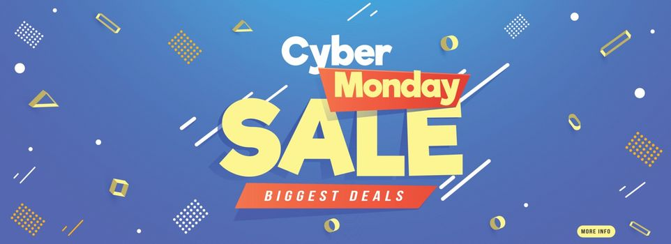 Advertising website banner design decorated with abstract elements on shiny blue background for Cyber Monday Sale.