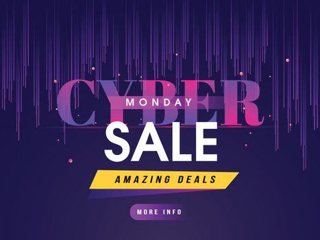 Website sale poster design with amazing deals and offers for Cyber Monday sale.