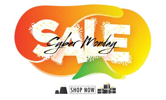 Stylish lettering of Cyber Monday Sale on abstract white background can be used as poster or banner design.