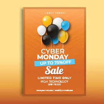 Advertising template design with 75% discount offer and decorative colorful balloons on orange background.