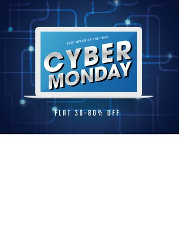 Cyber Monday lettering on laptop screen with 30-80% discount offer on abstract blue background.