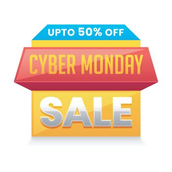 Cyber Monday Sale tag or label design with 50% discount offer on white background.