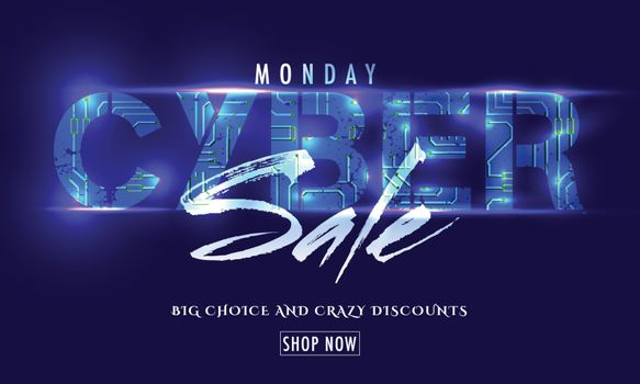 Cyber Monday Sale poster or banner design. Creative lettering of Cyber Sale with lighting effect on blue background.