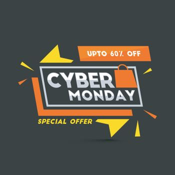 Flat style tag or label with 60% discount offer, black template or flyer design for Cyber Monday sale.