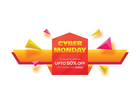 Up to 50% discount offer for Cyber Monday Sale poster or banner design.
