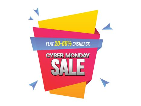 Cyber Monday sale banner or label design with 20-50% discount offer on white background.