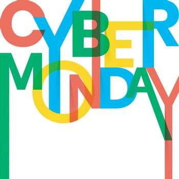 Stylish, colorful text Cyber Monday on white background.