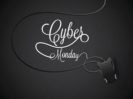 Calligraphy of Cyber Monday with digital mouse on glossy black background.