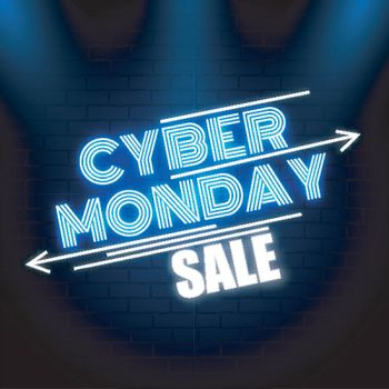 Creative neon text Cyber Monday Sale on glossy blue background for advertisement concept.