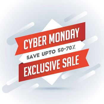 Exclusive sale with 50-70% discount offer, sale tag or label on gray abstract background for Cyber Monday Sale concept.