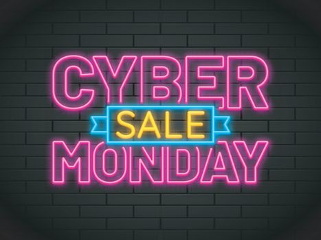 Neon text Cyber Monday Sale in pink and yellow color on brick wall background.