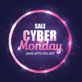 Shiny purple text Cyber Monday Sale with 75% discount offer on black background. Advertisement concept template or flyer design.