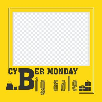 Big Cyber Monday Sale template or poster design in yellow color with space for your product image.