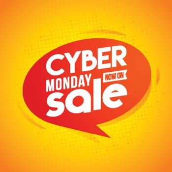 Now On Cyber Monday Sale template or flyer design in retro style.