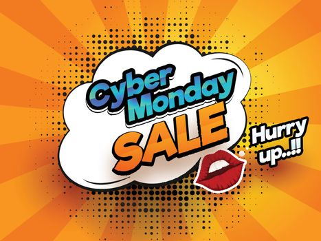 Stylish text Cyber Monday with sale tag on purple grid background for poster or template design.