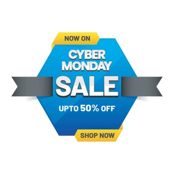 Cyber Monday sale banner or tag with 50% discount offer on white background for advertisement concept.