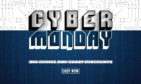Creative text Cyber Monday on white and blue digital circuit background. Website poster or banner design.