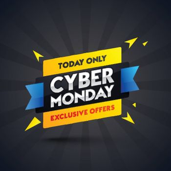 Cyber Monday sale ribbon or banner design with exclusive offers on black ray background.