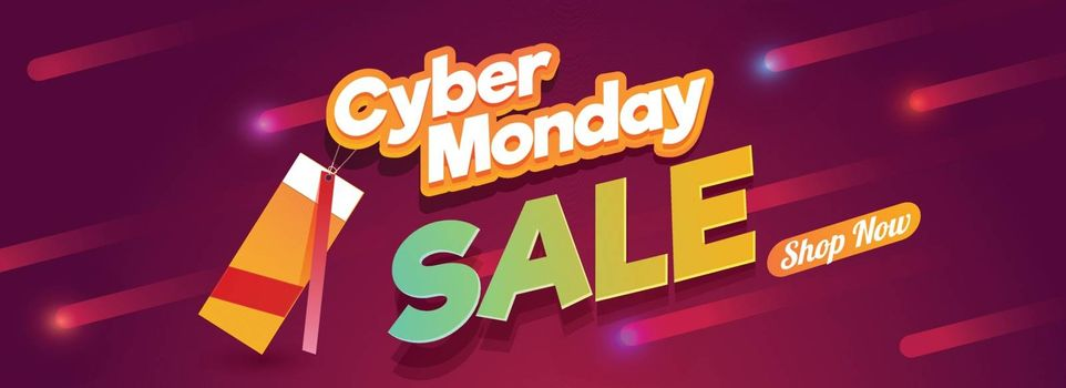 Website header or banner design with lettering of Cyber Monday Sale on abstract red background.