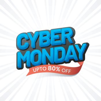 3D, blue text Cyber Monday with 80% discount offer on white ray background. Sale template or flyer design.