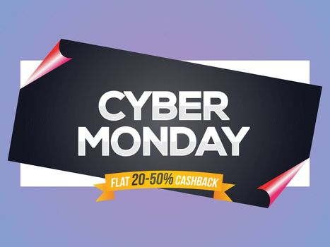 Curl paper style poster or banner design with 20-50% cashback offer for Cyber Monday Sale.