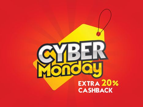 Cyber Monday Sale tag with 20% extra cashback offer on red rays background. Advertising poster or banner design.