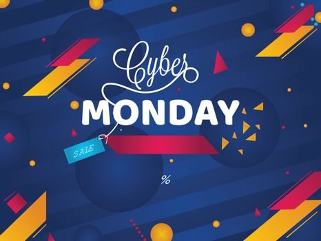 Cyber Monday Sale poster or template design with 40% cashback offer on abstract blue background.