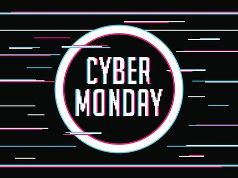 Glitch text Cyber Monday on abstract black background. Advertising poster or banner design.