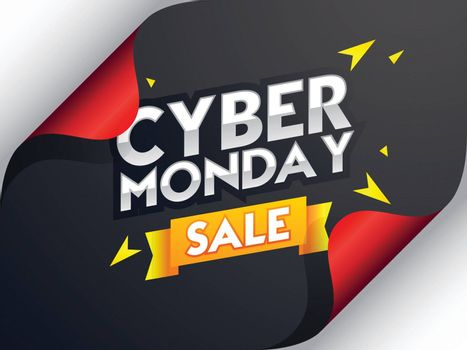 Cyber Monday Sale lettering on curl paper background, advertising poster or banner design.