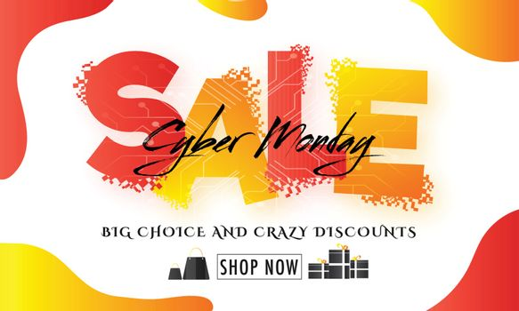 Big Choice Crazy Discount Offers on Cyber Monday Sale. Advertisement banner or promotional poster design.