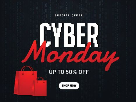 Website poster or banner design for Cyber Monday with 50% discount offer and shopping bag on black background.