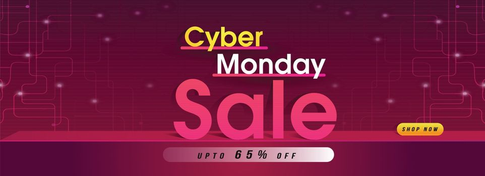 Advertising concept website header or banner design with 65% discount offer on neural background for Cyber Monday Sale.