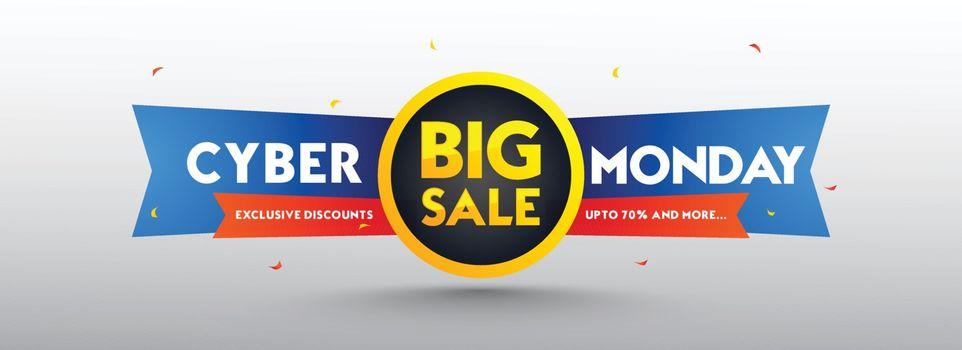 Big Sale, advertising banner design up to 70% discount offer, sale tag on white background. Social media header or poster.