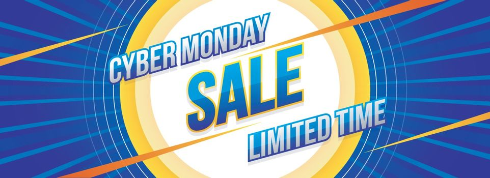 Limited Time Sale website header or banner design with lettering of Cyber monday on blue ray background.