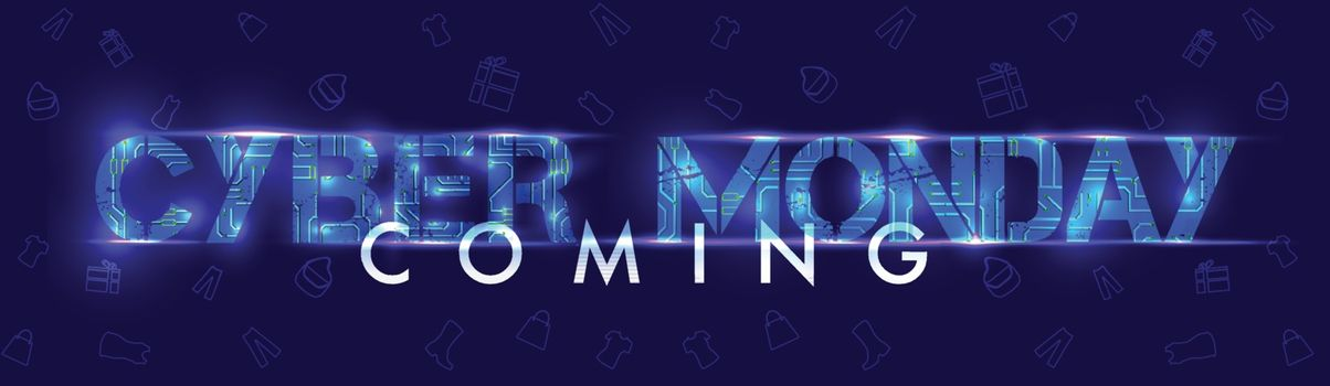 Website header or banner design with creative lettering of Cyber Monday with lighting effect on blue background.