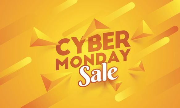 Cyber Monday sale poster or template design with 3d abstract elements on shiny orange background.