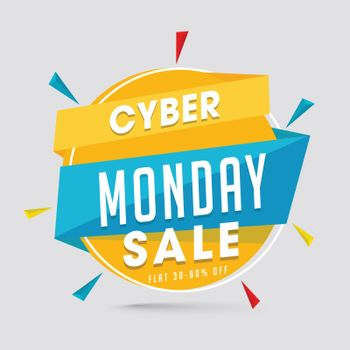 Sale tag or label with 30-80% discount offer on gray background for Cyber Monday Sale.