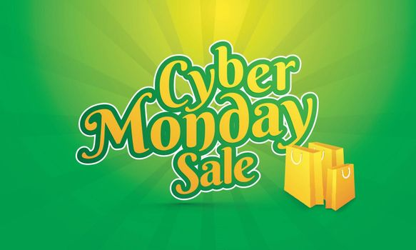 Sticker style text Cyber Monday Sale with shopping bags on green rays background. Poster or banner design for advertisement.