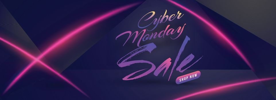 Sale header or banner design with lettering of Cyber Monday on glossy blue background.