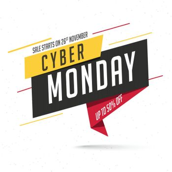 Sale tag or label with 50% discount offer on white background for Cyber Monday sale.